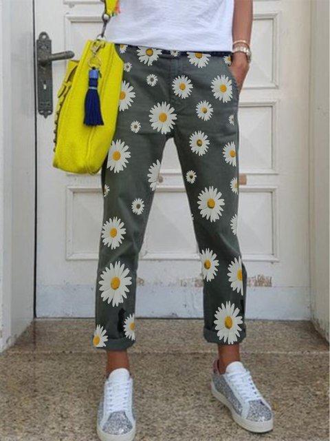 Gray Pockets Casual Pants