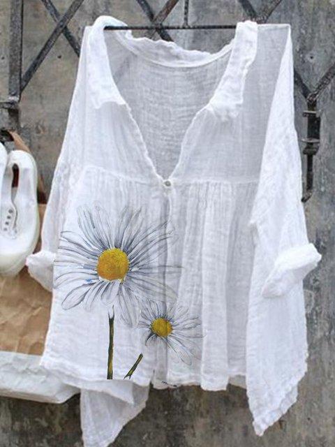 White Casual Long Sleeve Shirt Collar Shirts & Tops