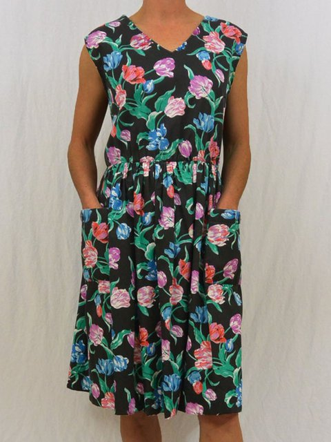Women Floral Kaftan Pockets Summer Dresses