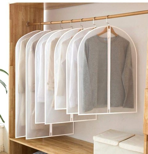 Hanging Garment Bag Clear Plastic Breathable Moth Proof Clothing Cover Clothes Storage Travel Closet Dust Cover