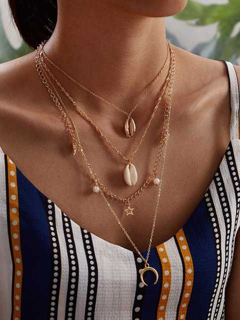 Women Multi-layer Alloy Drop Necklaces