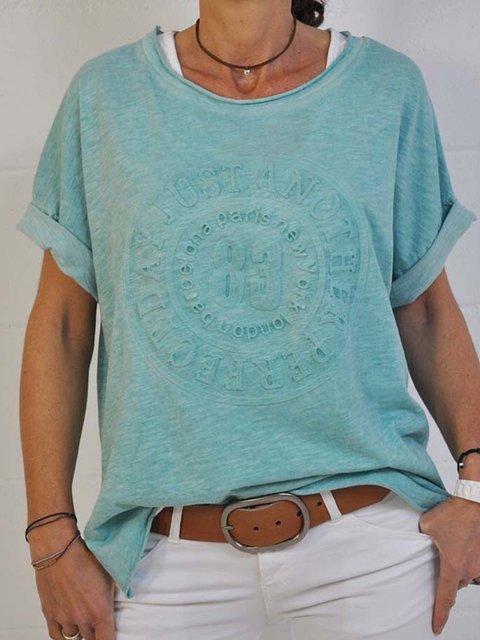 Blue Round Neck Short Sleeve Shirts & Tops