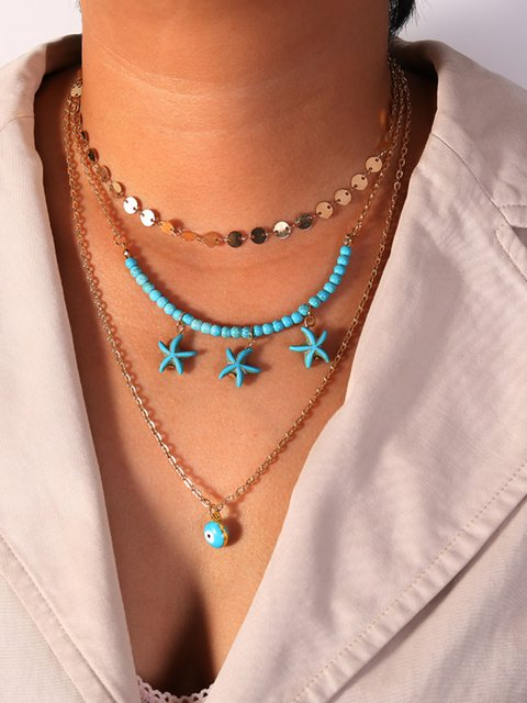 Sequined Turquoise Starfish Eye Multilayer Necklace