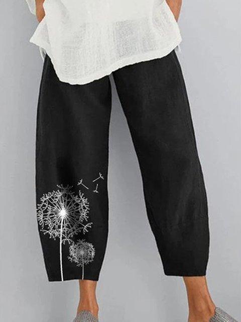 Black Linen Shift Solid Casual Pants