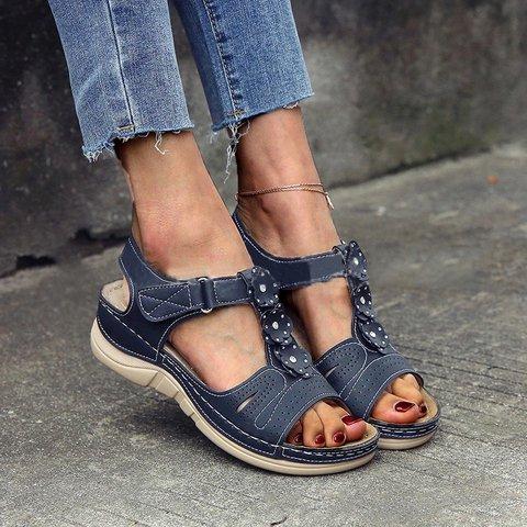 Women Casual Summer Flower Comfy Wedge Sandals