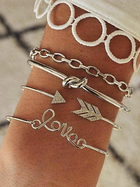 Women Alloy Love As Picture Bracelets