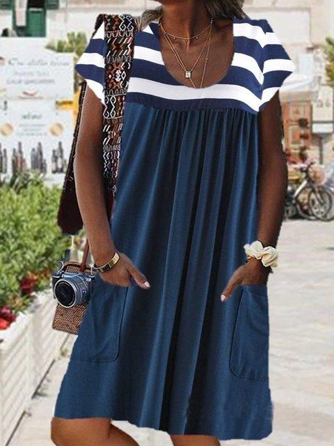 Women Short Sleeve U-neck Midi Dress with Pockets