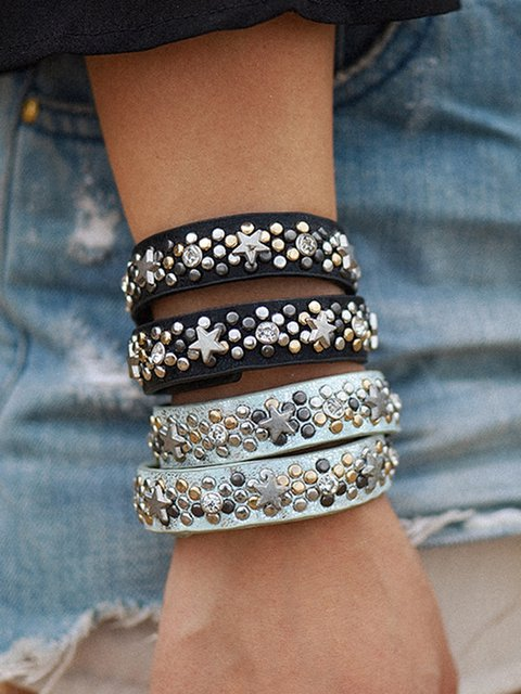 Women Vintage Multi-layer Rivet Star Bracelets