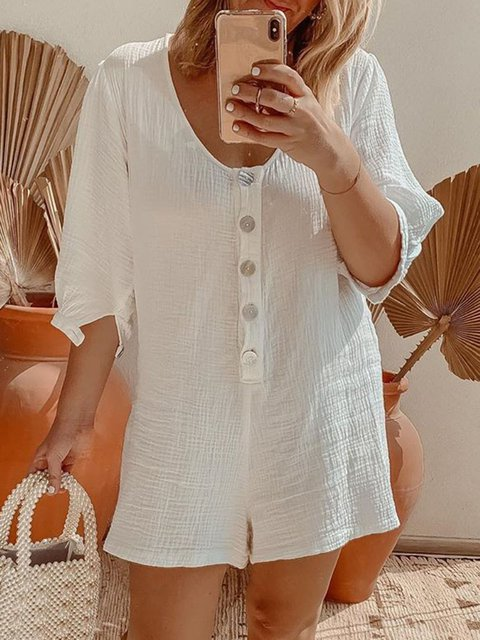 Women Buttoned Solild Casual Rompers