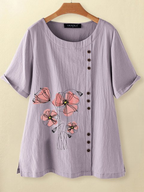 Lavender Casual Floral-Print Shirts & Tops