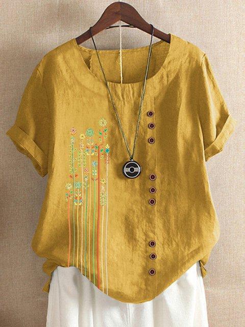 Yellow Floral-Print Casual Shirts & Tops