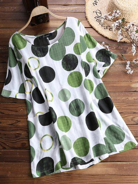 Green Casual Polka Dots Floral-Print Shirts & Tops