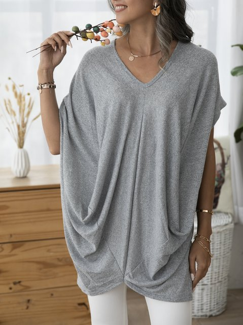 Gray Outdoor Plain V Neck Shirts & Tops