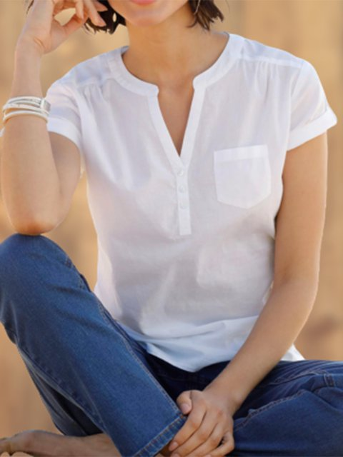 Plus Size Women V-Neck Solid Casual Blouses
