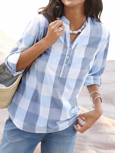 Women Plaids Convertible Sleeves Vintage Blouses