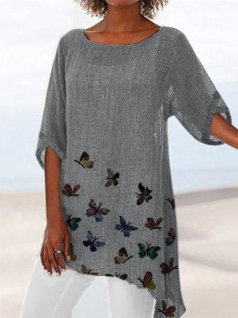 Gray Casual 3/4 Sleeve Linen Printed Shirts & Tops