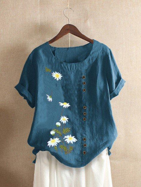 Daisy Print Short Sleeve Casual T-Shirts & Tops