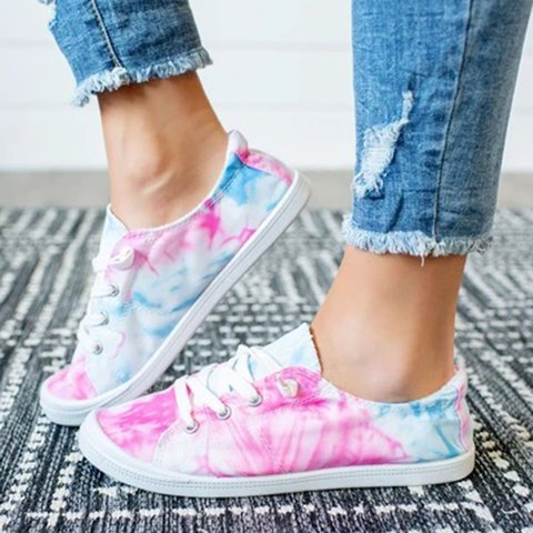 Pink Canvas All Season Flat Heel Sneakers