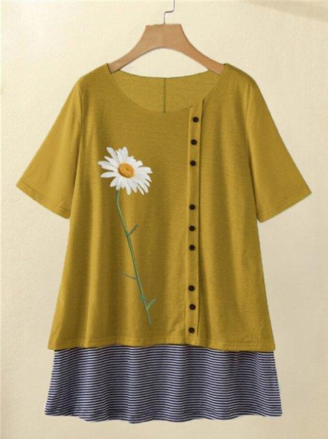 Daisy Print Short Sleeve Crew Neck Casual Shirts & Tops