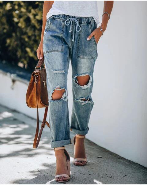 Blue Casual Drawstring Pants