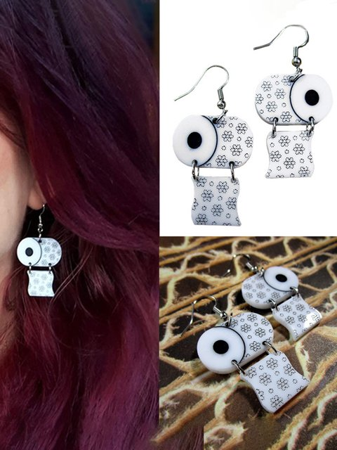 Trendy Mini Type Of Toilet Paper  Acrylic Earrings