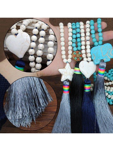 Turquoise silk tassel necklace