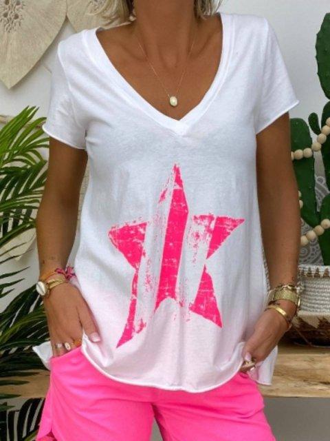 Star  Printed Short Sleeve V Neck Tops