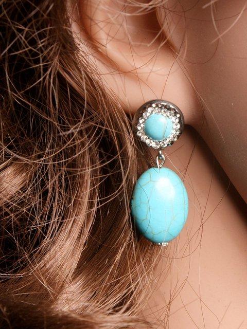 Bohemian synthetic turquoise egg earrings
