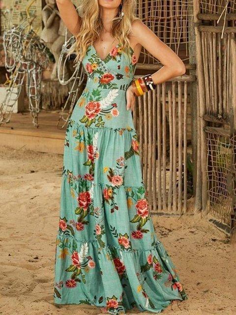 Sleeveless Floor-Length Travel Look Pullover Dress