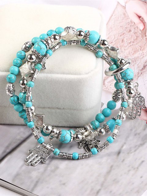 Turquoise Set of 3 Retro Fatima Palm Bracelets