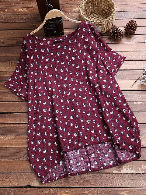 Wine Red Floral Casual Floral-Print Shirts & Tops