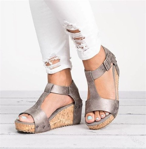 Women's Summer Casual T-Strap Wedges Sandals