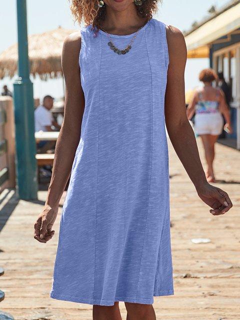Cotton Comfory Round Neck Knee-length Dress