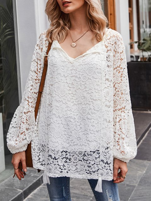 White Long Sleeve Solid V Neck Lace Blouse