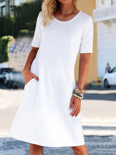Solid Pockets Mini Dress Women Summer Dresses