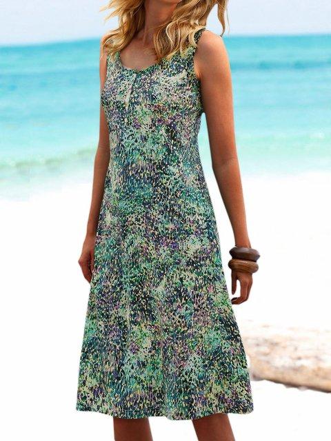 Plus Size Mini Dress Sleeveless Printed Crew Neck Dresses