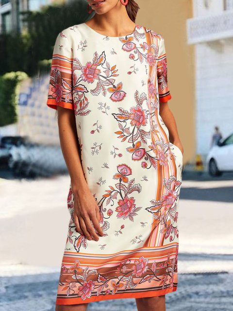 Pockets Mini Dress Plus Size Short Sleeve Vintage Dresses