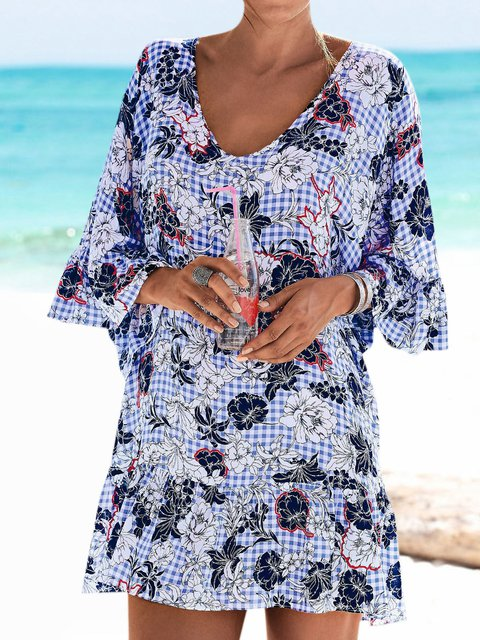 Plus Size Floral Tunic V Neck 3/4 Sleeve Mini Dresses