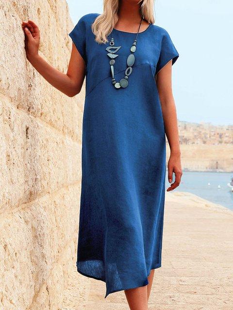 Solid Midi Dress Women Short Sleeve Crew Neck Dresses