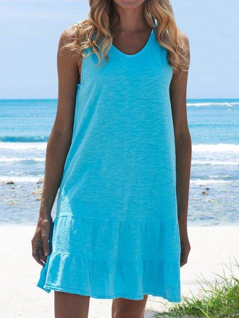Casual Soft V-neck Knee-length Dress