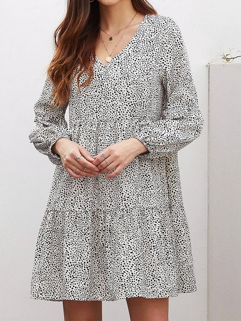 Casual Plus Size Leopard Printed Long Sleeve V Neck Dresses