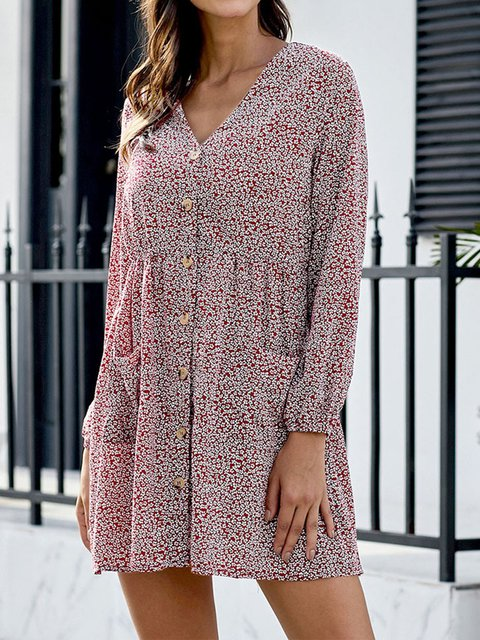 Casual Plus Size Long Sleeve Floral Printed V Neck Dresses