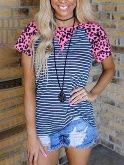 Cotton-Blend Leopard Crew Neck Short Sleeve Shirts & Tops