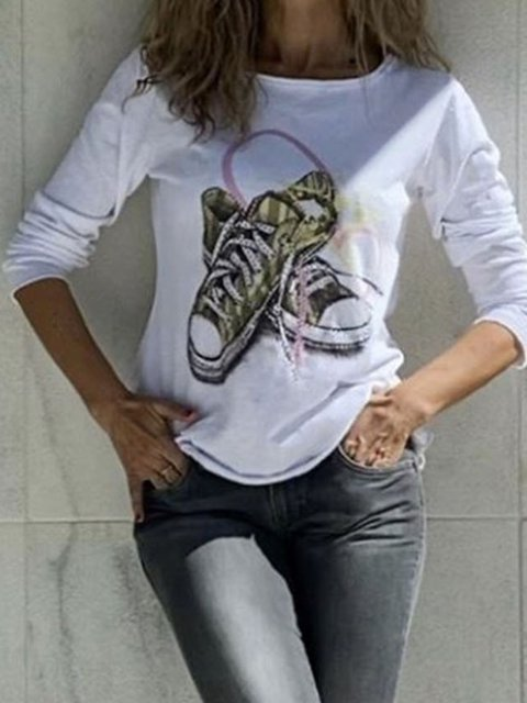 Women Printed Long Sleeves Casual T-Shirts