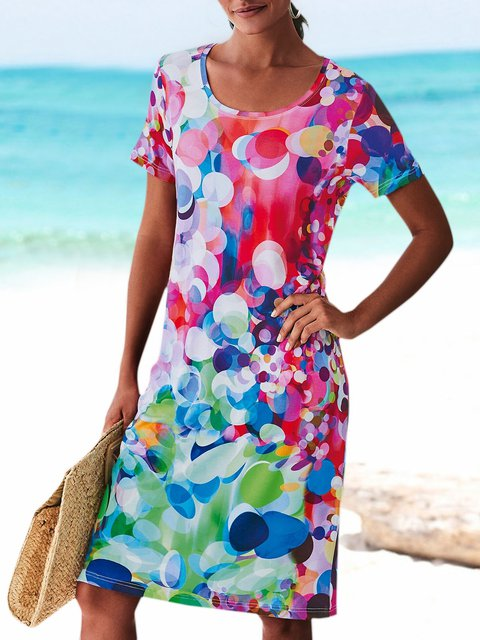 Plus Size Mini Dress Printed Women Summer Dresses