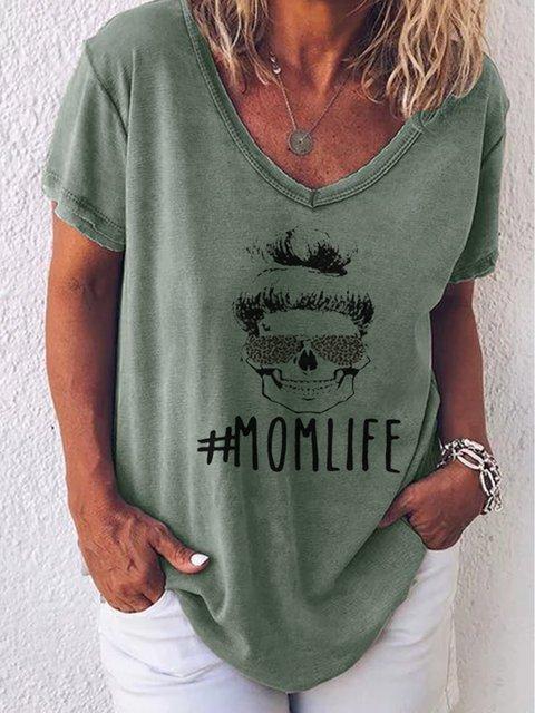 V Neck Short Sleeve Printed T-Shirts
