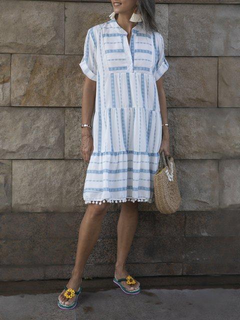 Blue Geometric A-Line Chiffon Casual Dresses