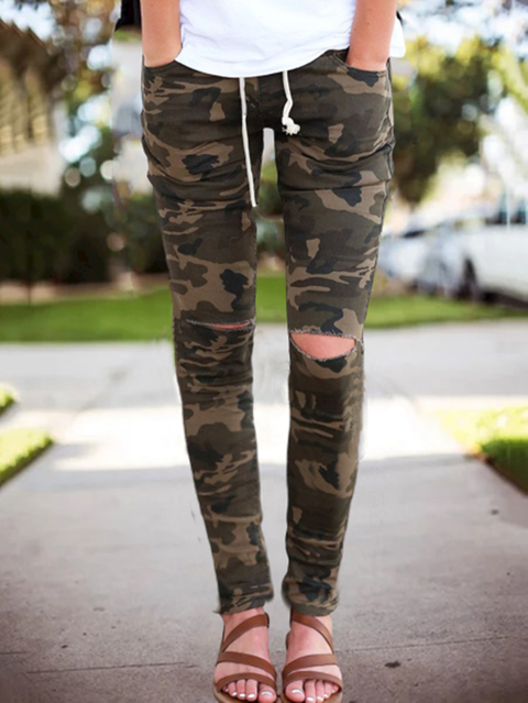 Green Casual Camo Pockets Lace-up  Pants