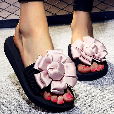 Plus Size Platform Flower Slippers Womens Slide Sandals