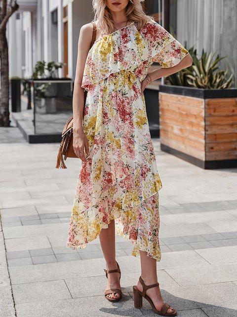 One Shoulder  A-Line Beach Statement Chiffon Dress
